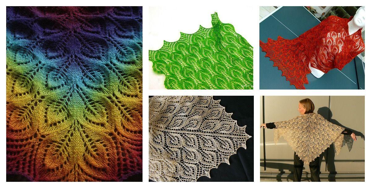 Frühlingsblätter Lace Shawl Free Knitting Patterns | Pinterest ...