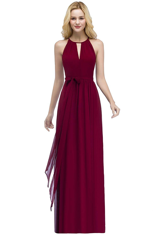 10 Stil Elegantes Kleid A-Linie Lang Chiffon Abendkleid