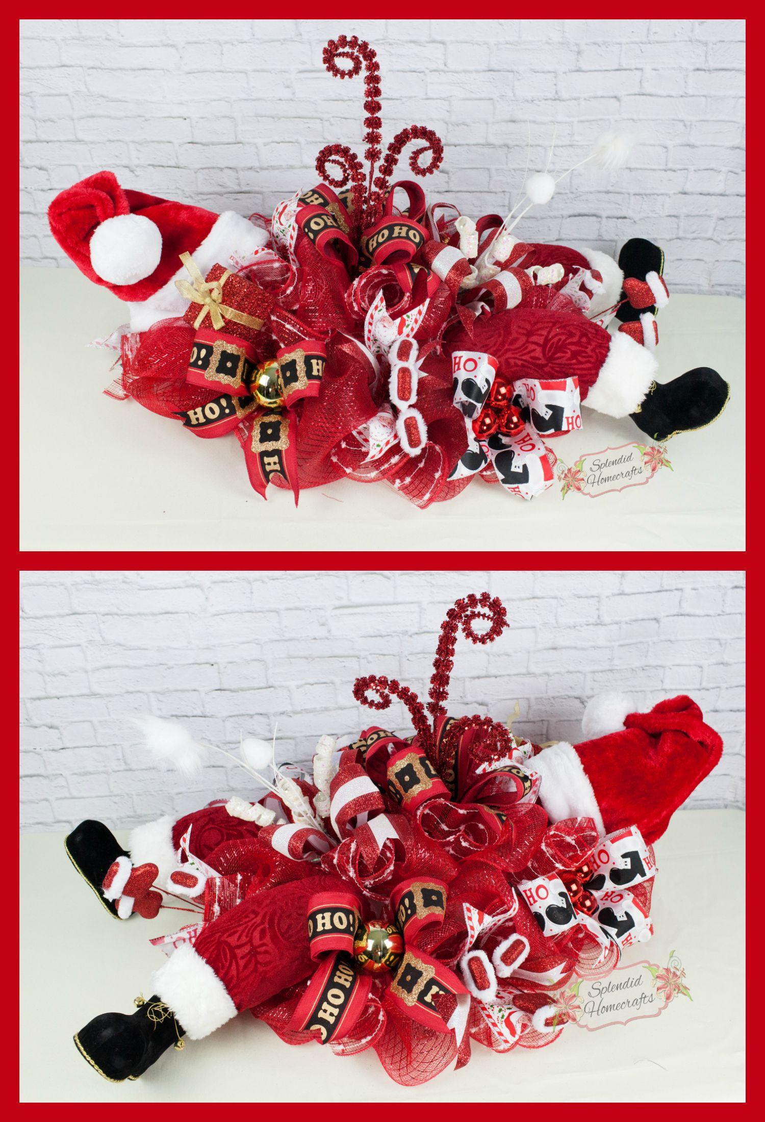 Santa Centerpiece, Christmas Centerpiece, Santa Legs Decor, Holiday Centerpiece, Deco