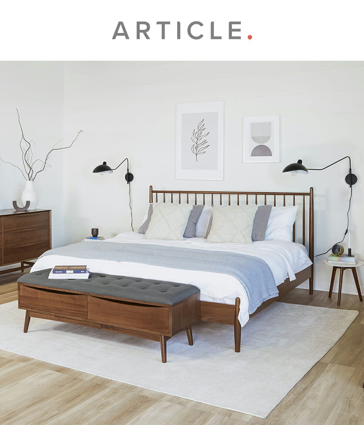 Lenia Walnut King Bed  Bedroom bed design, Home decor bedroom