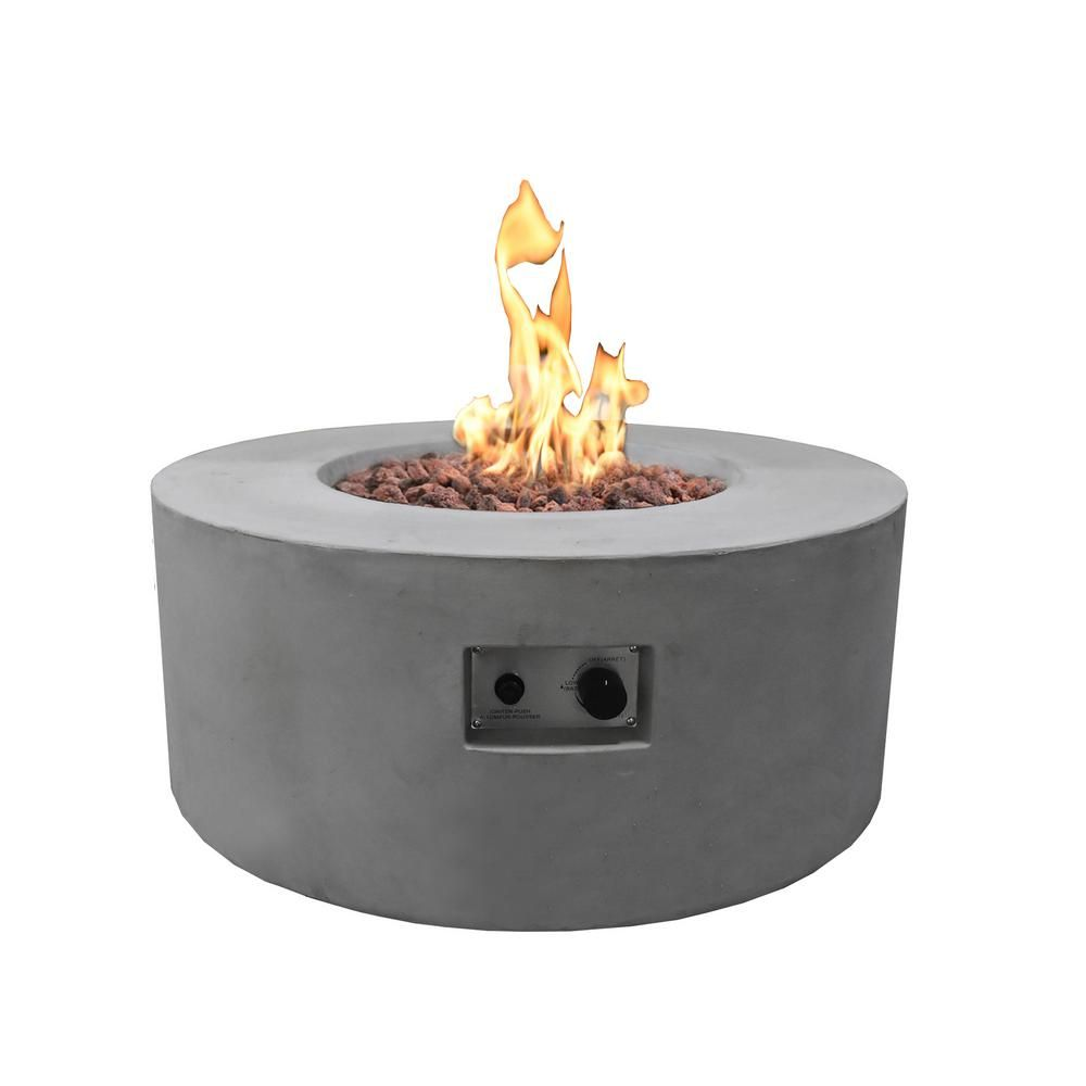 Modeno Tramore 34 In X 15 In Grey Round Concrete Propane Fire Pit Table With Electronic Ignition Cover And Lava Rock Ofg132 Lp The Home Depot Fire Pit Table Propane Fire Pit