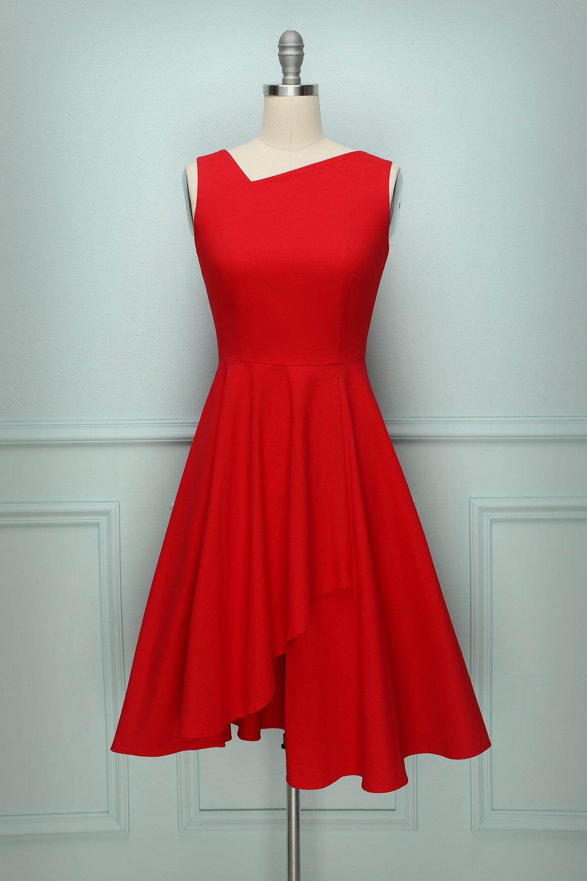 Asymmetrical Red Swing Vintage Red Dress Red Lace Midi Dress Blush Lace Dress [ 1800 x 1200 Pixel ]