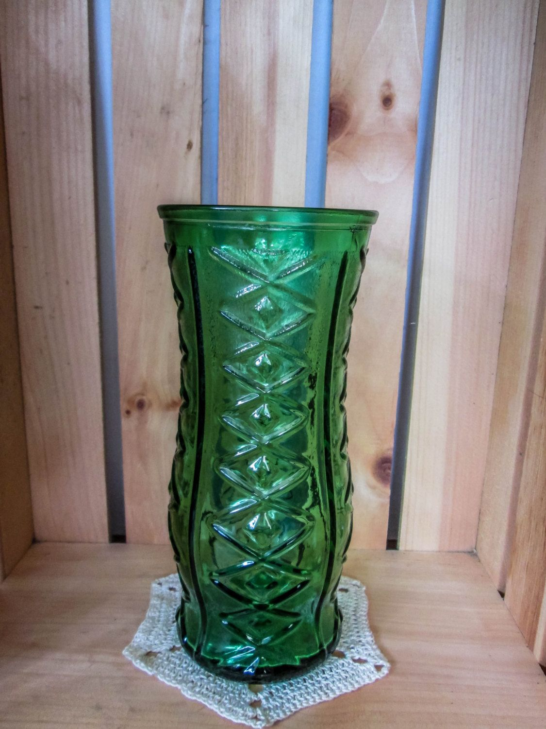 Vintage eo brody green vase diamond pattern large eo brody vintage eo brody green vase diamond pattern large eo brody vase green decor large vase table decor shabby chic wedding birthday reviewsmspy