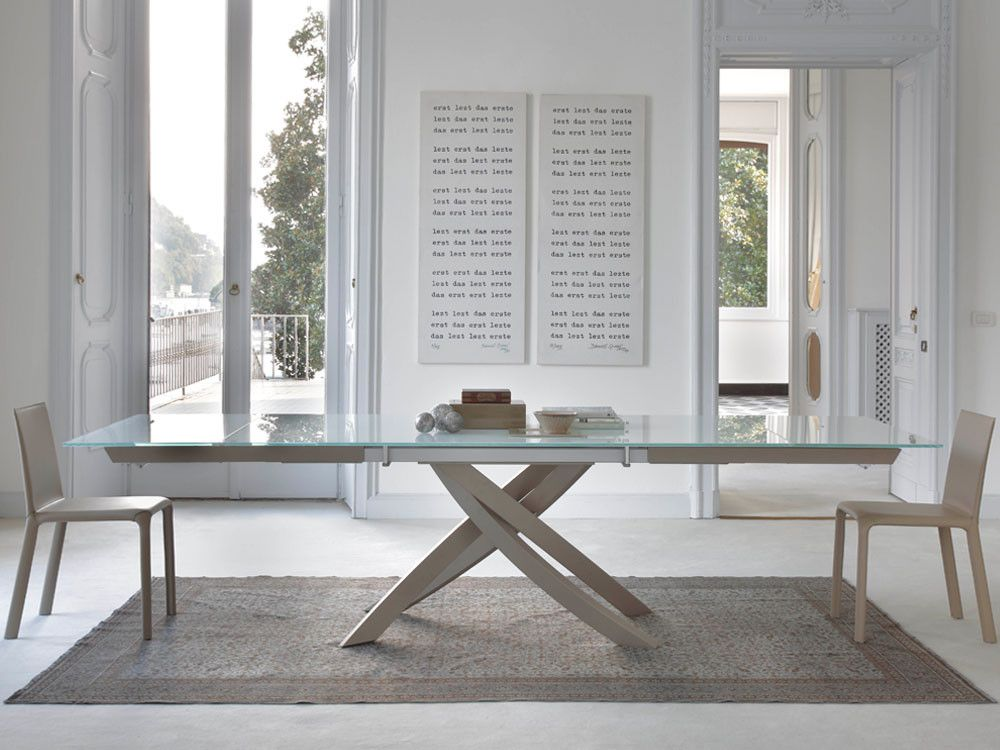 Bontempi Casa Artistico Glass Extendable Dining Table By R D