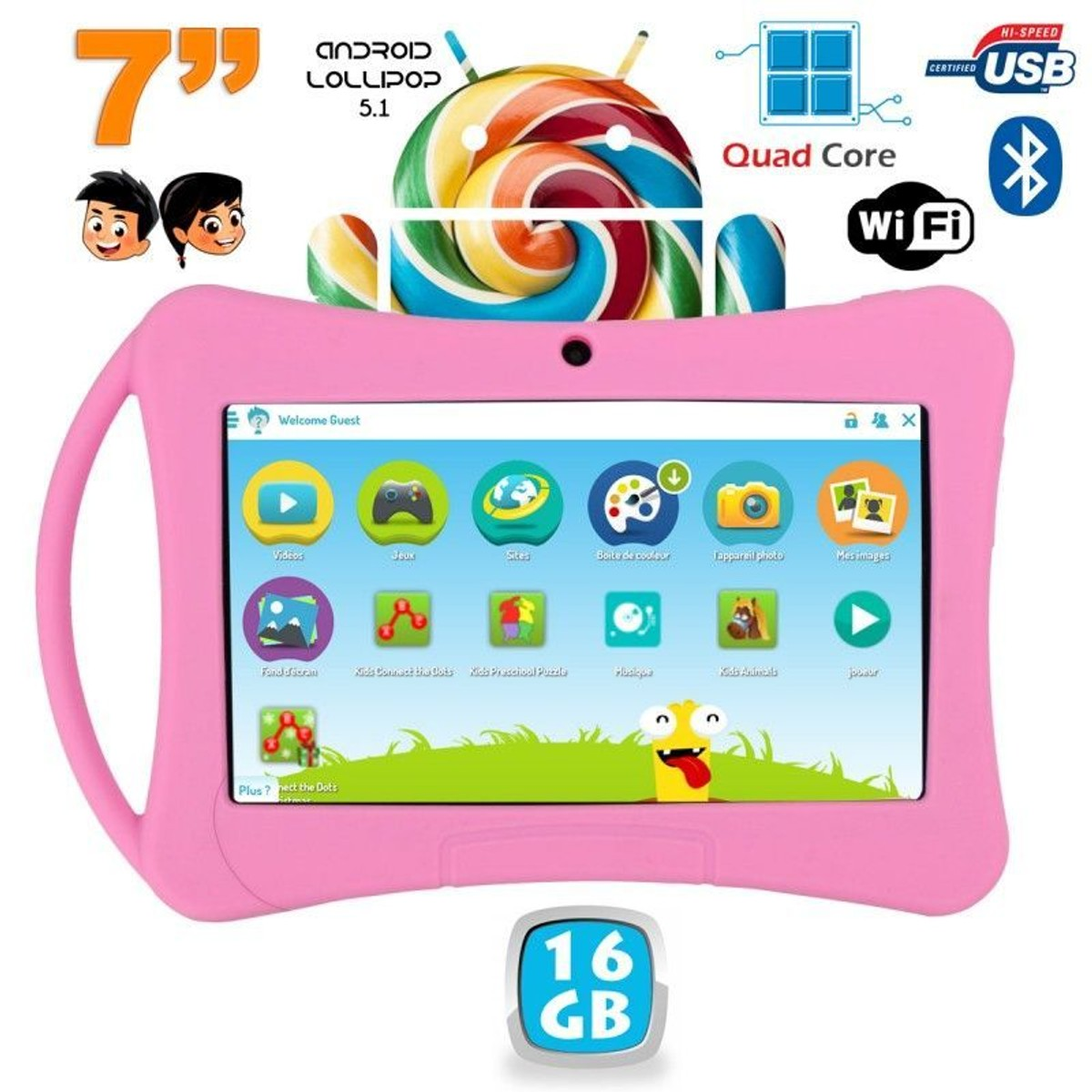 Tablette Enfant Android Bluetooth 7'' 16go Taille