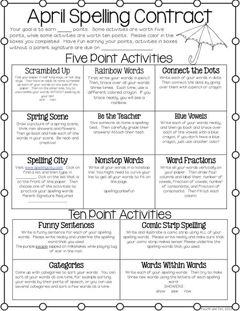 Fourth and Ten: April Spelling Contract | Spelling ...