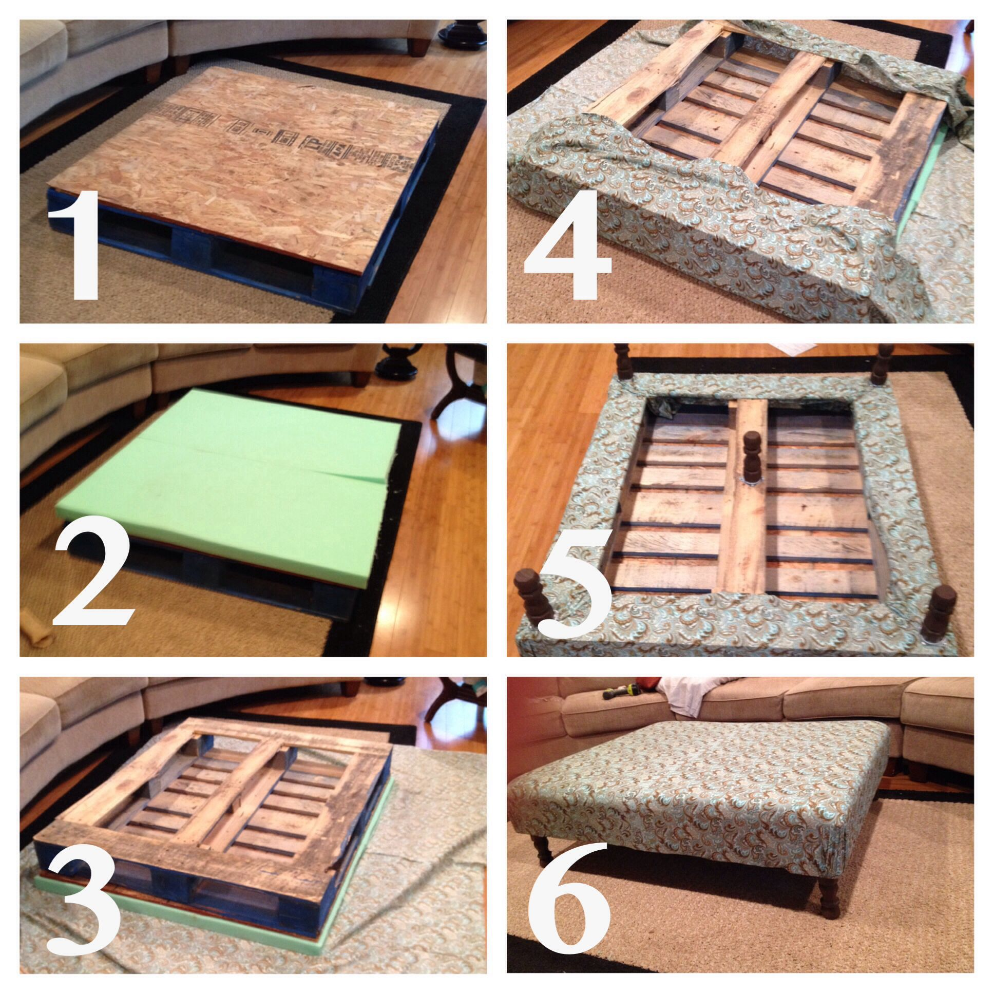 DIY pallet ottoman coffee table DIY Pinterest