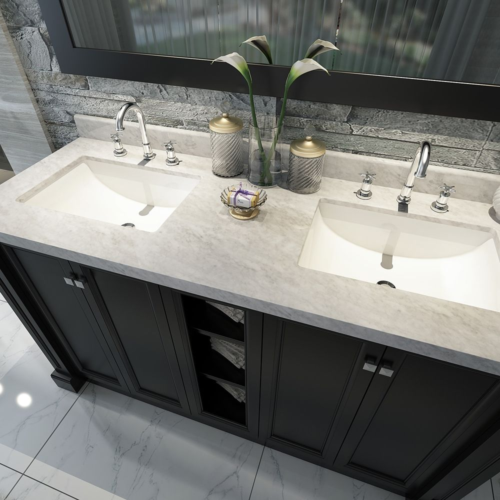 Lovable 60 Inch Double Sink Vanity Marble Top With Images