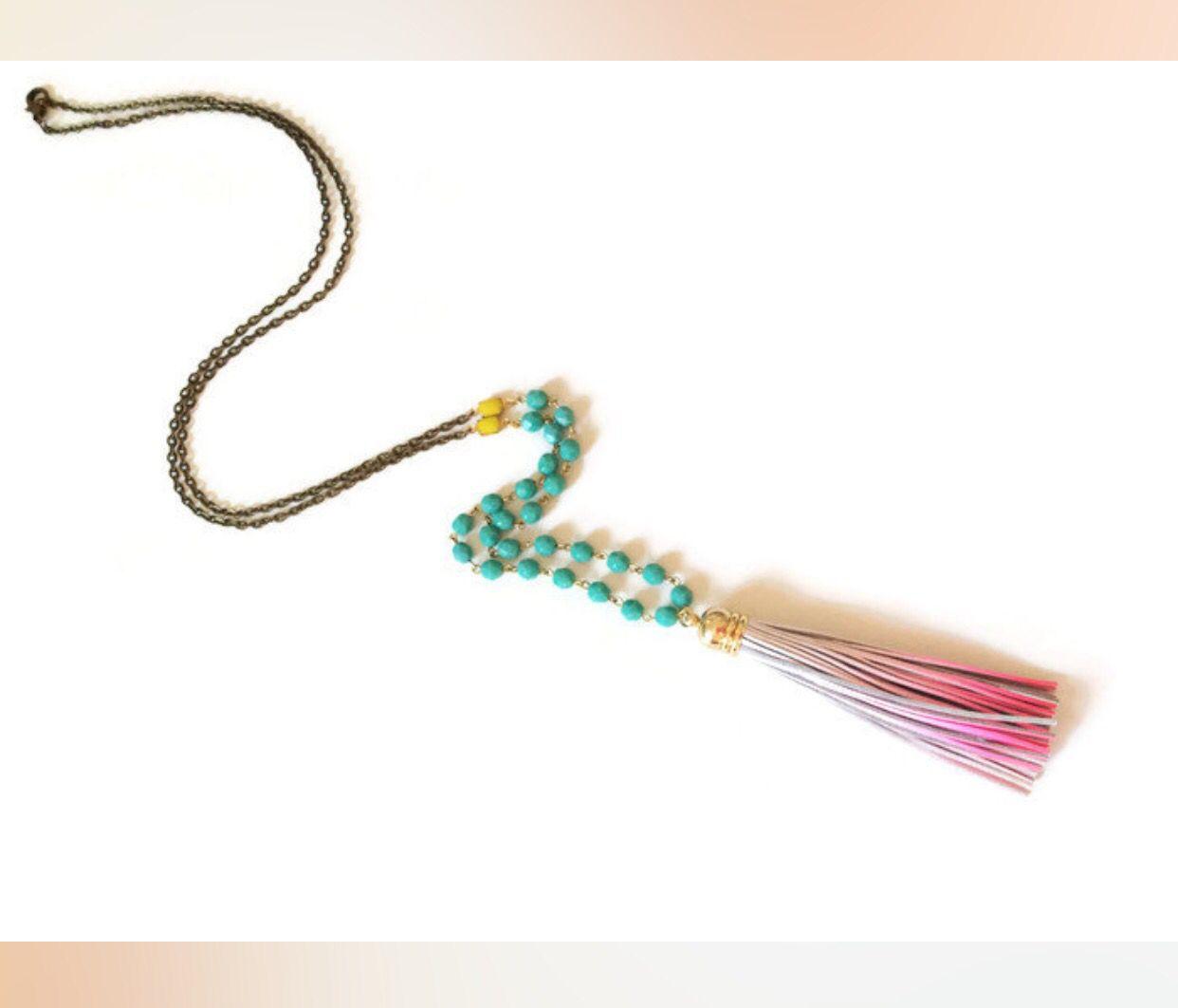 Ombré leather tassel necklace