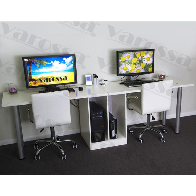 Unusual Computer Desks varossa double workstation 2 in 1 computer desk (white) | office