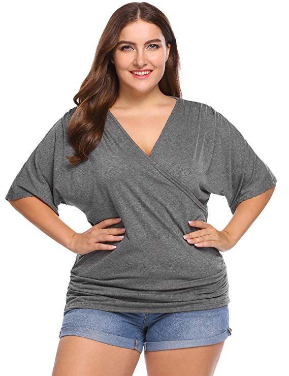27ac22c5bbfa49 IN VOLAND Plus Size Women V Neck Wrap Front Drape Tops Short Sleeve Pleated  Waist