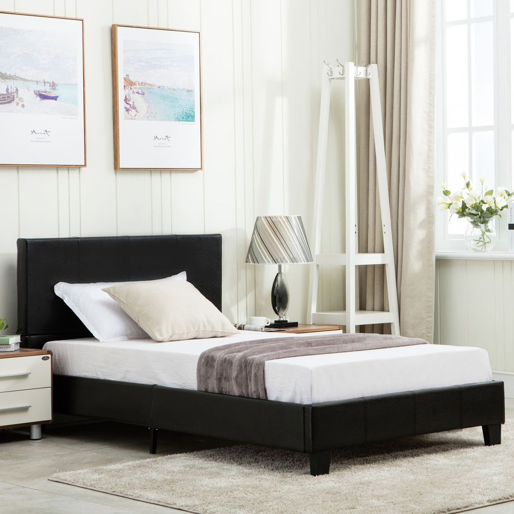 Details About Twin Size Faux Leather Metal Bed Frame