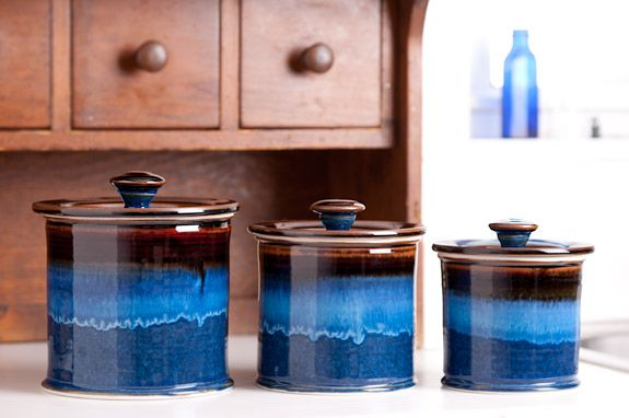 Exceptional Georgetown Pottery Straight Canister Set In Hamada U0026 Blue