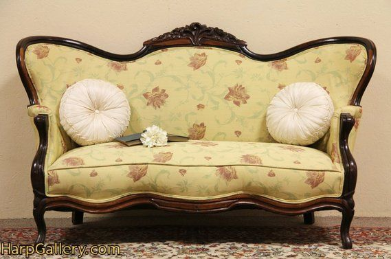 Carved Rosewood Antique Victorian Settee Loveseat 1860 S A