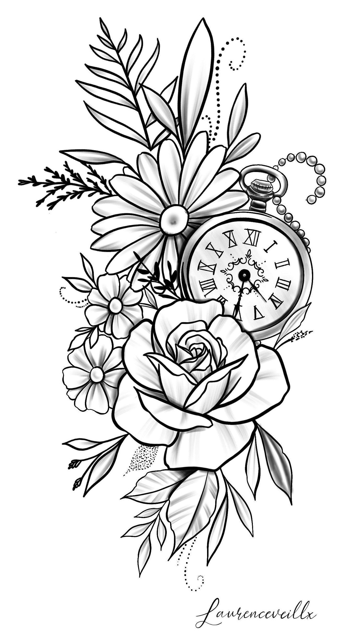 Tattoo Design Digital Download Art Print Par Laurencevartiste Clock And Rose Tattoo Sketch Rose Dai In 2020 Watch Tattoo Design Floral Tattoo Design Watch Tattoos
