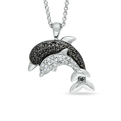 110 ct tw enhanced black and white diamond two dolphin pendant tw enhanced black and white diamond two dolphin pendant in 10k aloadofball Gallery