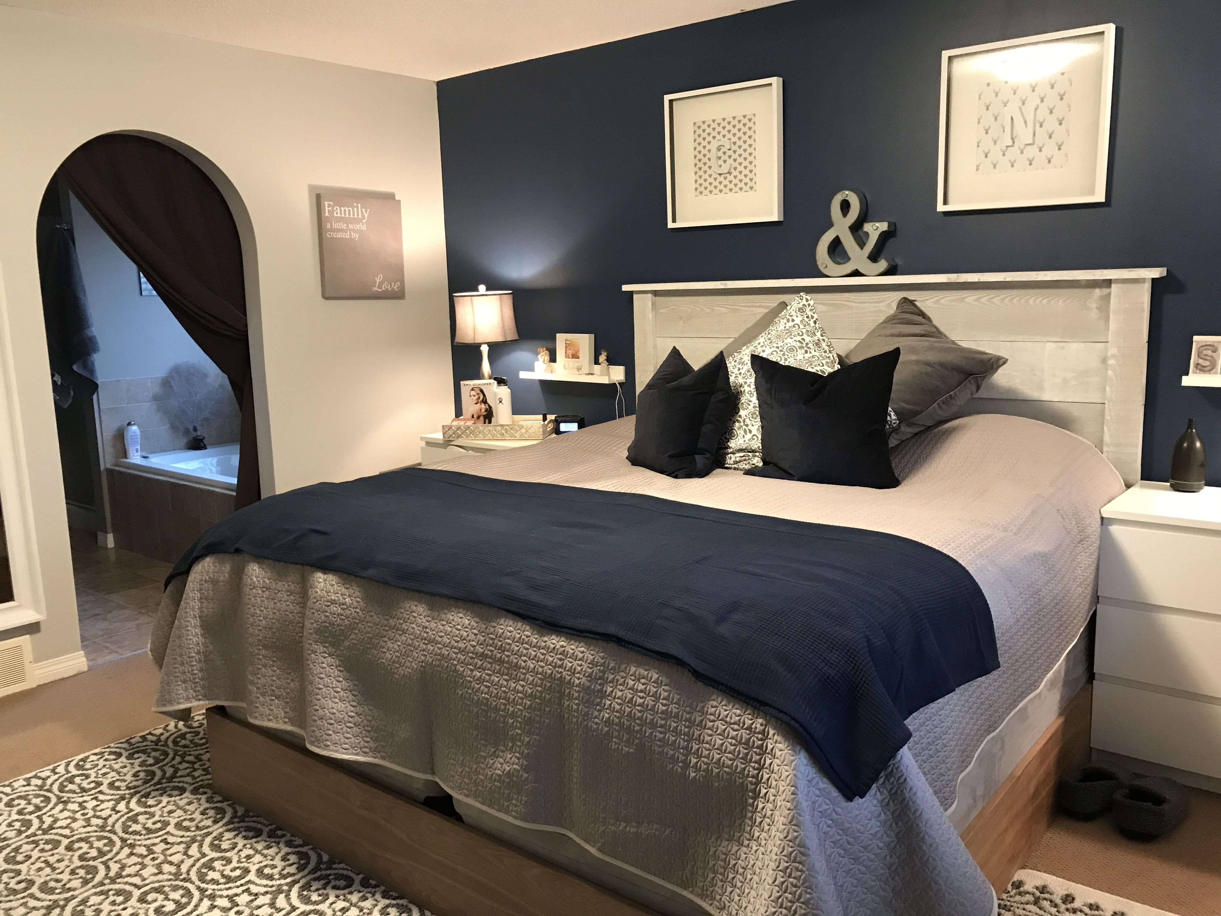Navy Blue Master Bedroom Makeover