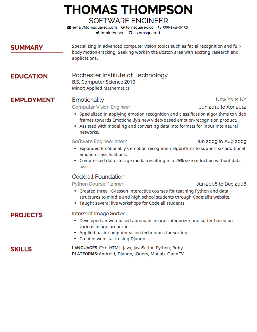 Font For Resume Size