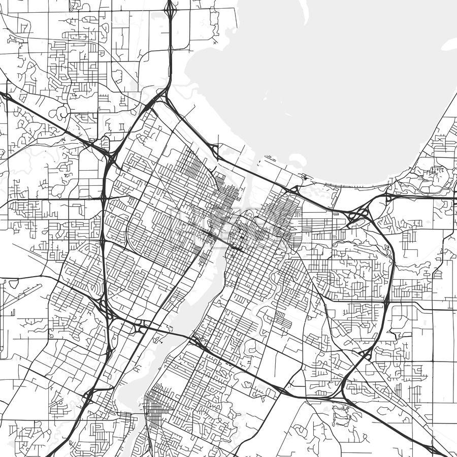Green Bay Wisconsin Area Map Light Ui ux