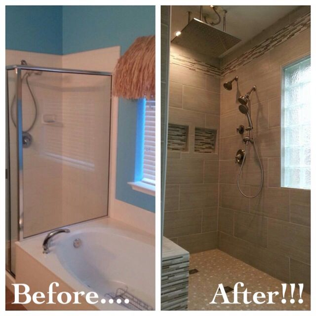 Bathroom remodel removed garden tub to make room for a walk in shower without a door Bathroom remodel with walk in tub