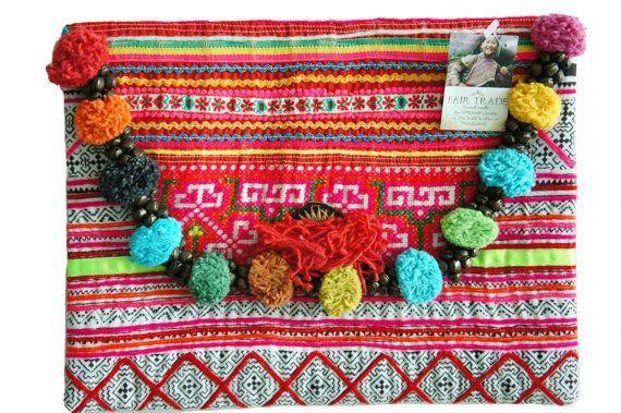 SALE Hmong clutch  Pom Pom Bag  Thailand bag  by AllGirlsneed