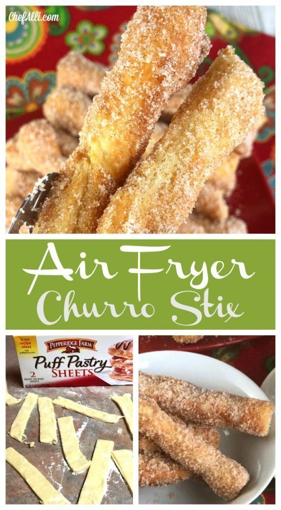 Feather-light, tender puff pastry stix dipped into butter, then rolled in cinnamon-sugar. These little suckers melt in your mouth! #airfryer