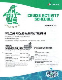 The Davis Family Triumphant Thanksgiving Camp Ocean Carnival Dream Cruise Cruise Activities Carnival Sunshine