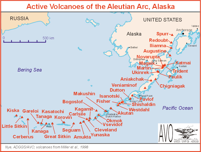 Sand Point Alaska Map.Map Of Active Volcanoes Of The Aleutians And Alaska Maps