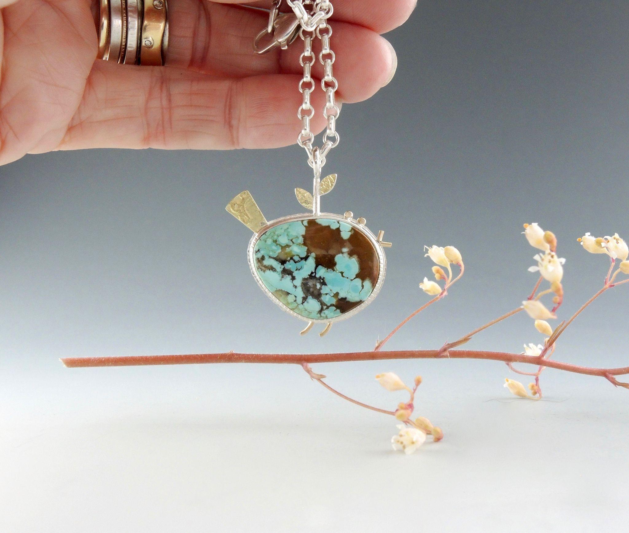 Handcrafted Sterling Silver,14kt Gold,18kt Gold Boulder Turquoise Bird Pendant