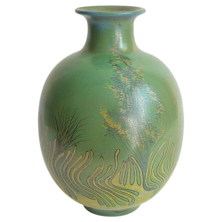 Large Green Vase Italian Pottery Marine Fauna Decor By Giacomo Onestini 1970s Ceramic Vases Design Antique Vase Porcelain Vase Design