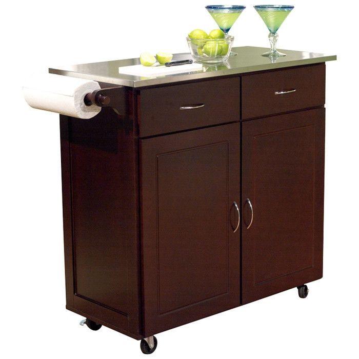 Modern Stainless Steel Top Kitchen Cart Island In Espresso Finish Kitchen Cart Kitchen Island Cart Portable Kitchen Island