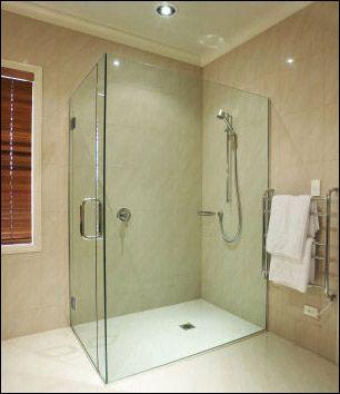 frameless glass shower two walls door placement