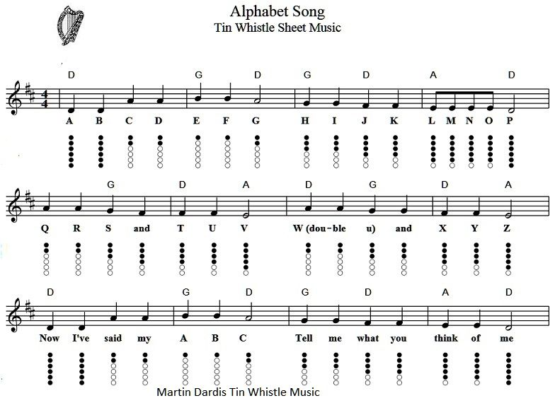 Alphabet Song Sheet Music Jpg With Images Tin Whistle