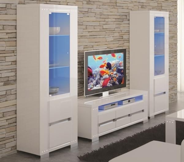 Elegance Diamond White High Gloss Tv Wall Unit With Swarovski Crystal Detail And Led Lights