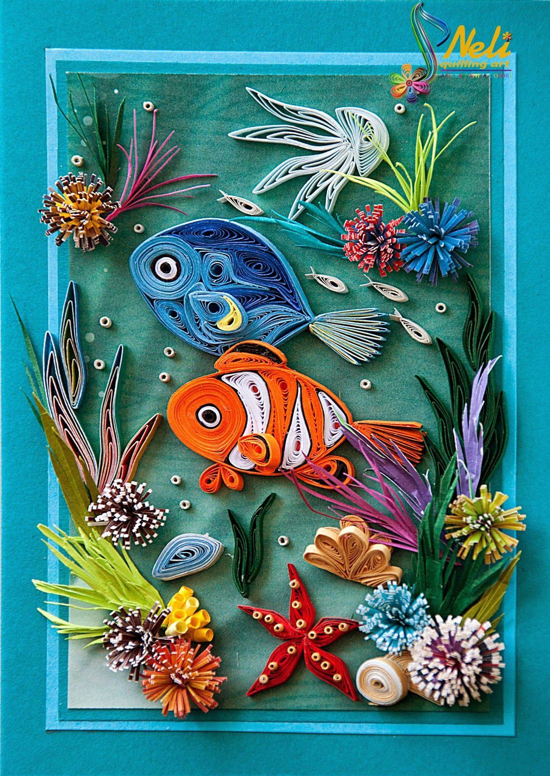Neli quilling card 14 8 cm 10 5 cm seabed crafty for Quilling designs