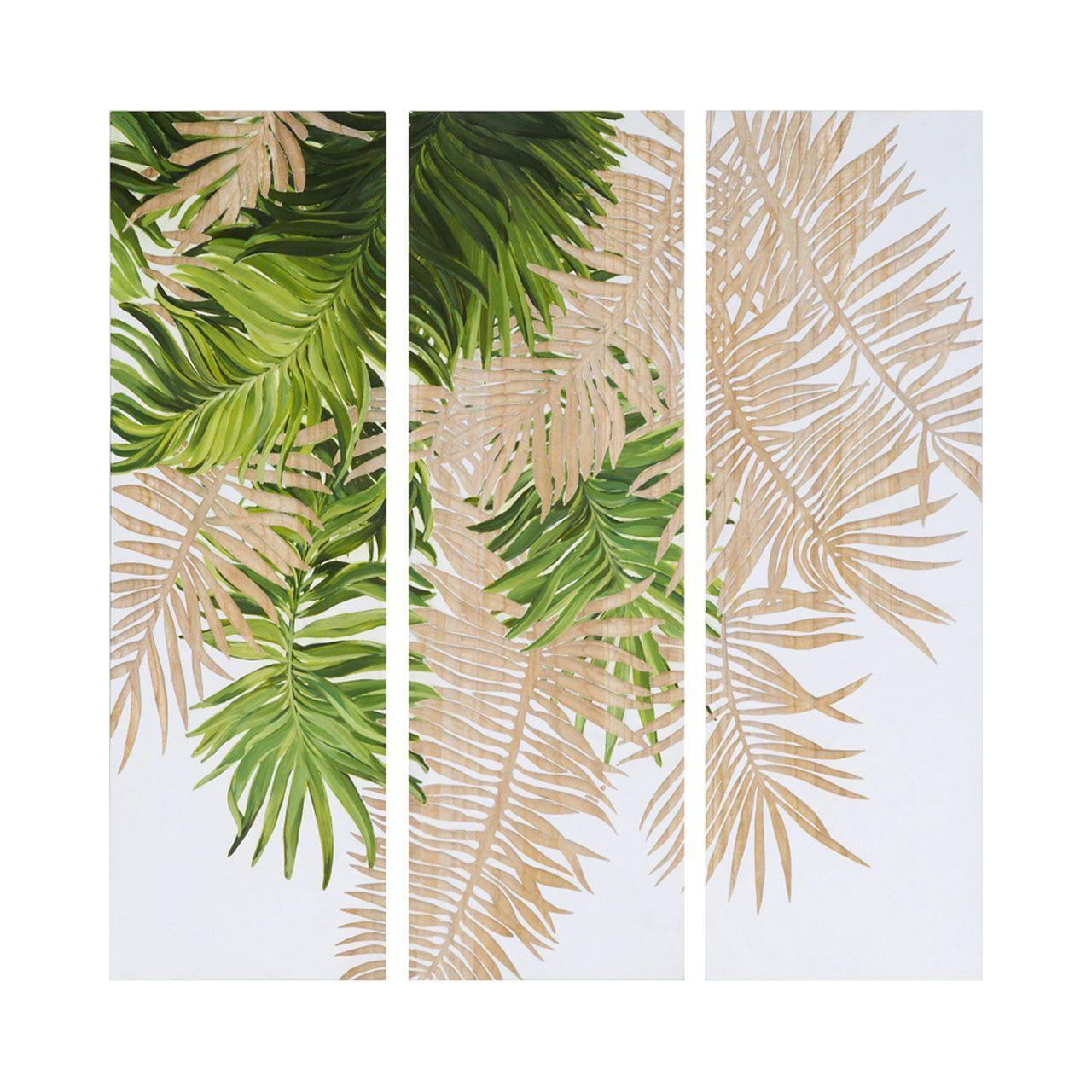 tableau triptyque bois paulownia peinture feuillages verts et blancs art ou pas pinterest. Black Bedroom Furniture Sets. Home Design Ideas