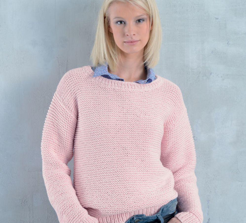 cc2c7c92c374 exemple patron gratuit tricot chandail femme. Besoin d une idée facile à  tricoter   Réalisez le pull à manches longues uni au point mousse.
