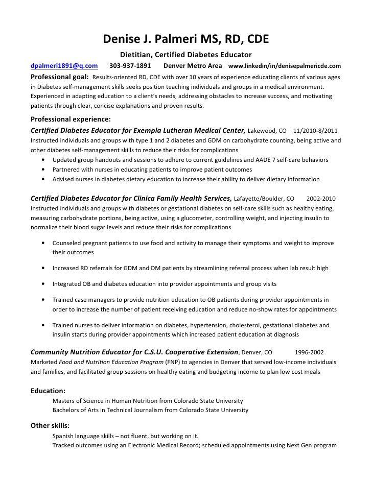 Registered Dietitian Resume Sample Resumesdesign Education Resume Manager Resume Resume Tips