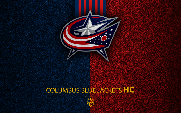Download wallpapers Columbus Blue Jackets, HC, 4K, hockey team, NHL, leather texture, logo, emblem, National Hockey League, Columbus, Ohio, USA, hockey, Eastern Conference, Metropolitan Division