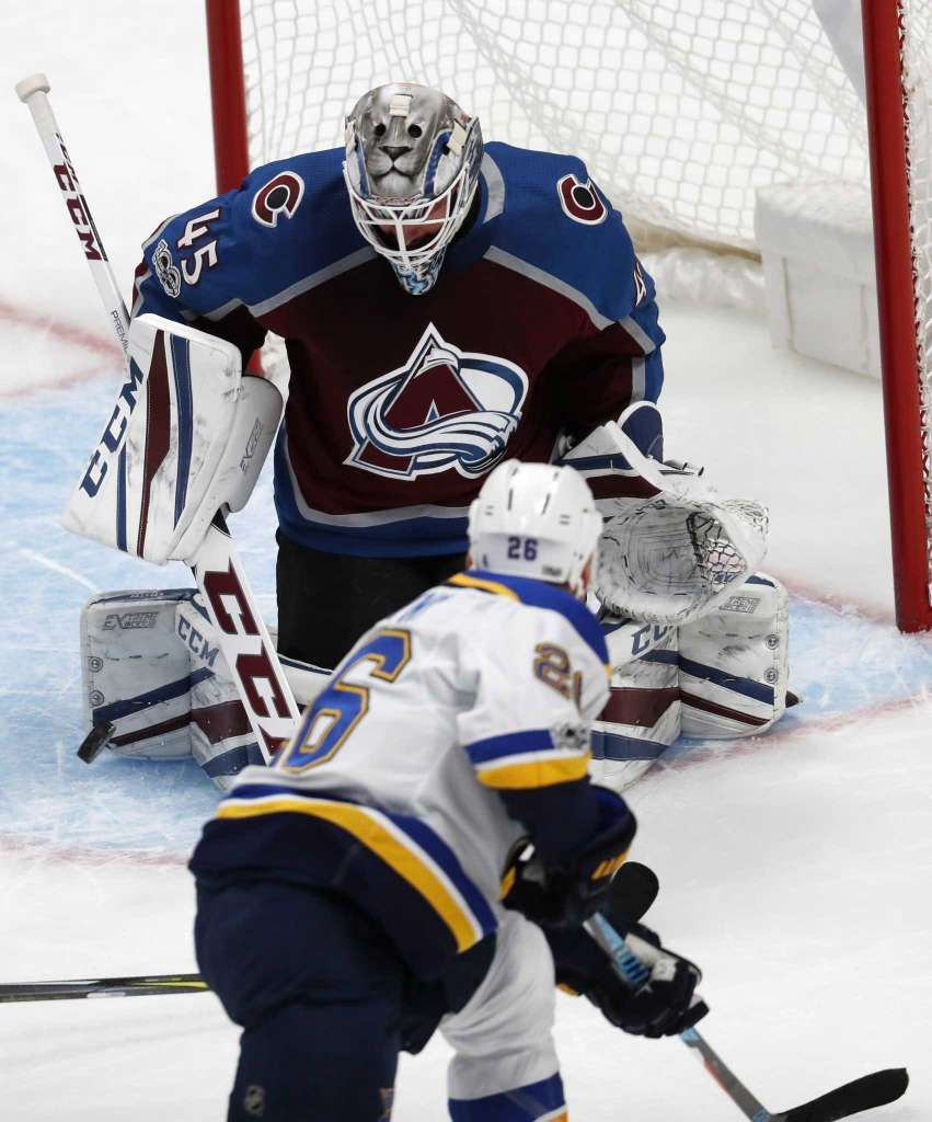 Colorado Avalanche Goalie Jonathan Bernier, Back, Makes A