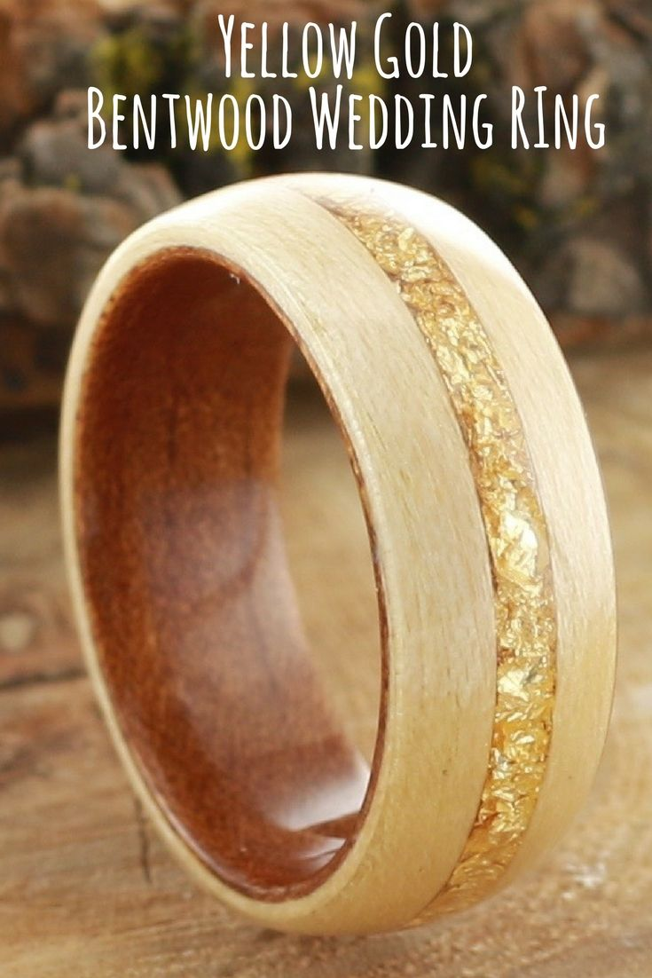 Koa Wood and Maple With Gold Flakes Inlaid In the Center Wedding