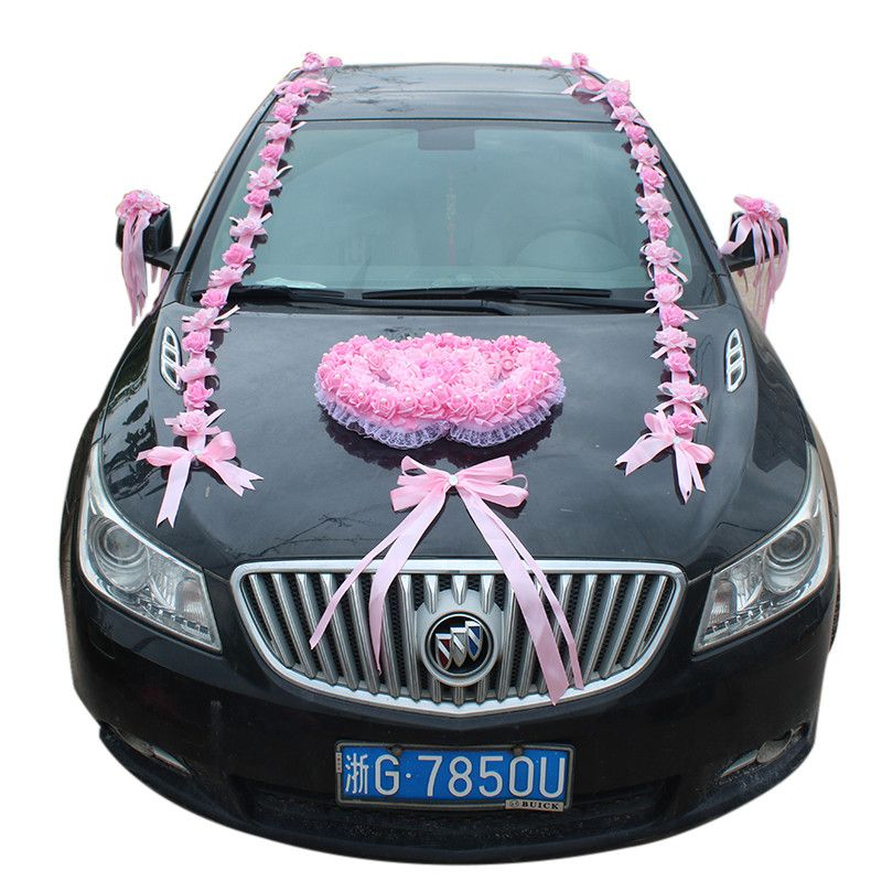 Genie Red Artificial Foam Rose Flowers Wedding Car Decoration Set