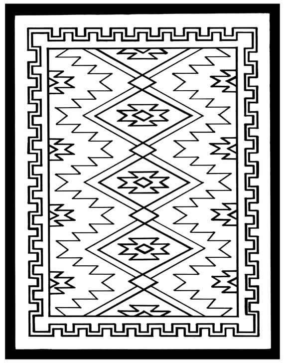 Navajo style simple border design 1 sheet stencil The North Plains