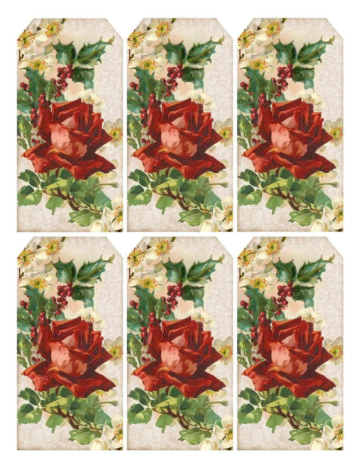 A wintry flower printable gift tags featuring a red catherine a wintry flower printable gift tags featuring a red catherine klein rose holly negle Image collections