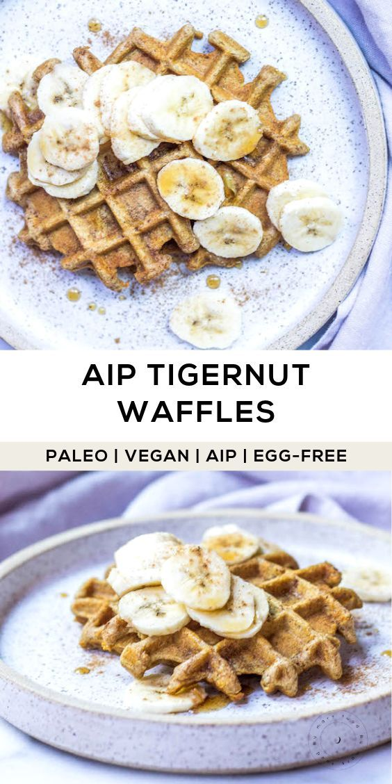 AIP Waffles made with Tigernut & Cassava (Paleo, Vegan, Egg-free) A lower carb waffle that's allergen-friendly. These delicious waffles are crispy, fluffy and so flavorful! (AIP, Paleo, Egg-free, Gluten-free, Grain-free, Vegan)