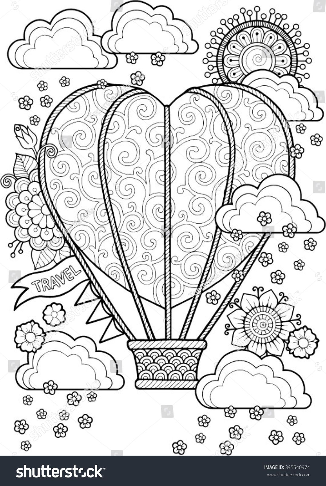 stock-vector-journey-in-a-balloon-valentines-day-coloring-book-for ...