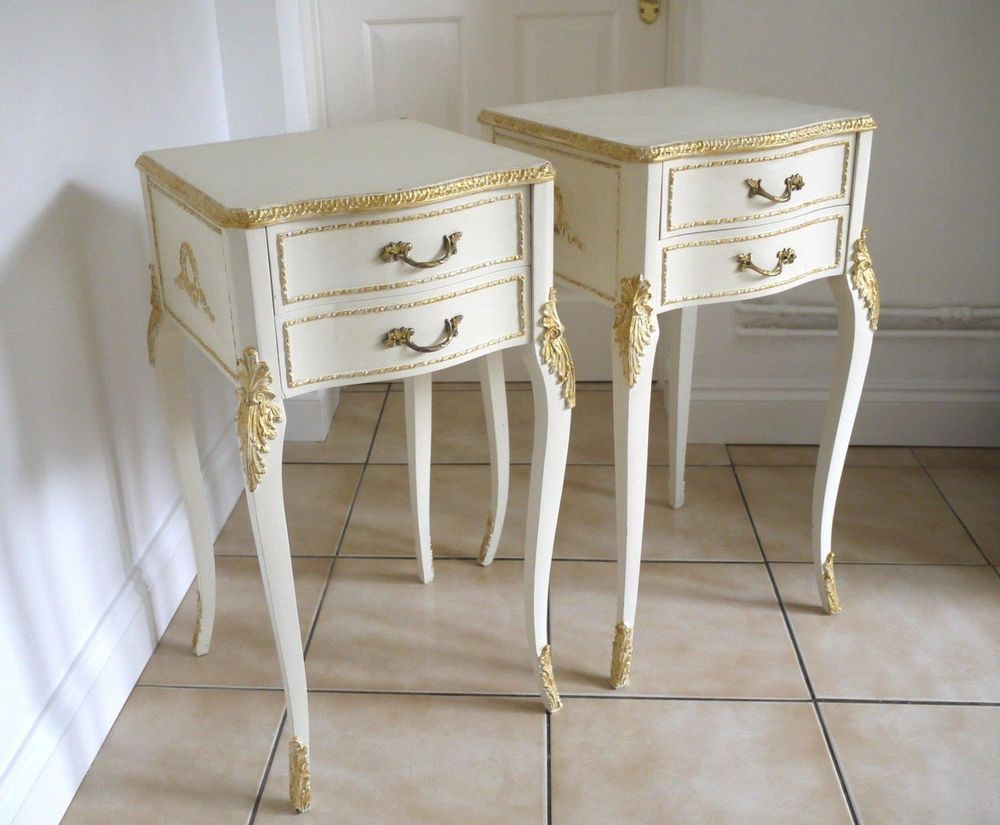 Vintage Cream And Gold Louis Style Bedside Tables Cabinets Shabby