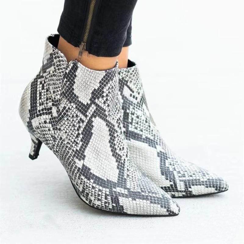Ladies Pu Leather Round Toe Short Boots Chunky Heel Lace Up Bare Boot Womens Snake Skin Ankle Booties