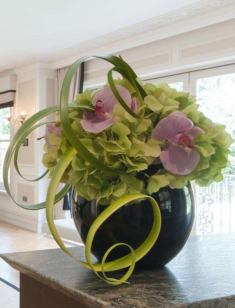 Hydrangea And Orchids In Black Goldfish Bowl Rtfact Artificial