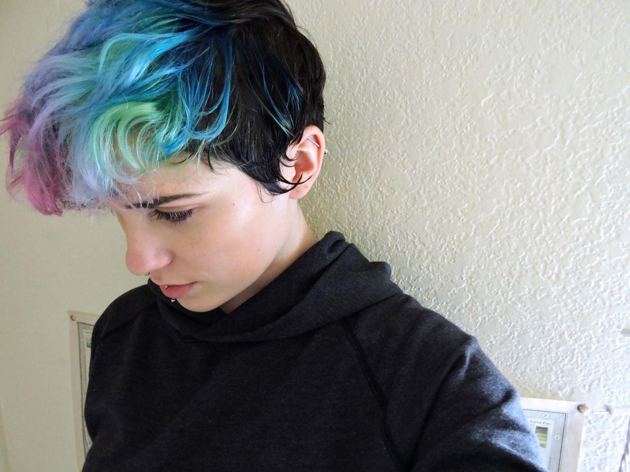 Hair hair color hair dye poop androgynous puff poof andro pale waif